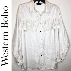 Oleg Cassini Western Fringe Shirt Silver thread XL
